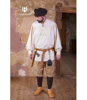 Camisa medieval lazos Störtebecker, crema