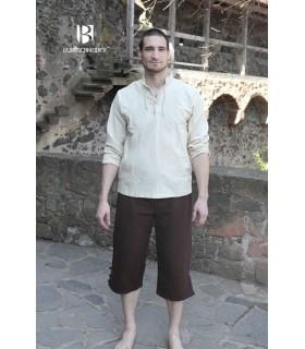 Camisa medieval lazos Tristan, crema