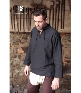 Hemd mittelalterlichen bindungen Tristan, schwarz