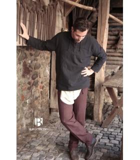 Camisa medieval lazos Tristan, negra