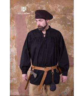 Camisa medieval lazos Störtebecker, negra