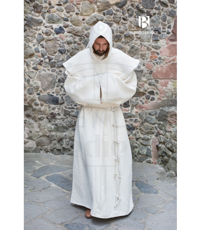 Traje de Monje medieval Benediktus, blanco