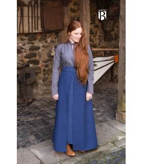 Falda medieval Mera, algodón azul