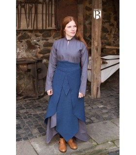 Falda medieval Tharya, algodón azul