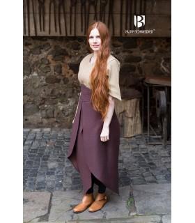 Falda medieval Tharya, algodón marrón