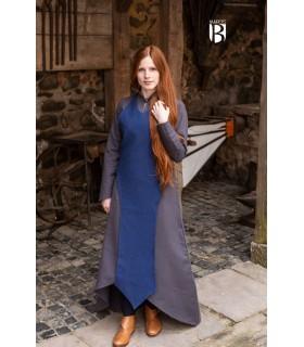 Delantal medieval Isa, algodón azul