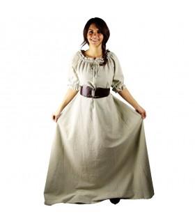 Vestido medieval Karen, blanco natural