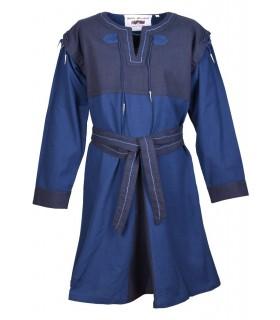 Tunika Mittelalter Blau-dunkelblau mit abnehmbaren ärmeln