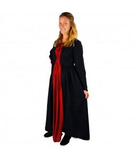 Vestido medieval Medusa, negro-rojo