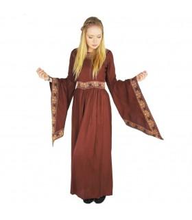 Vestido nobleza medieval, rojo borgoña