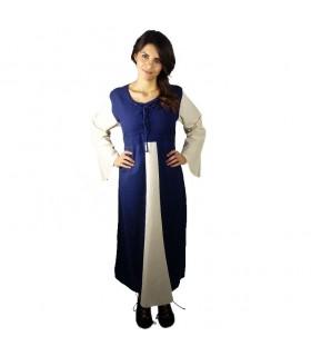 Vestido medieval algodón azul oscuro