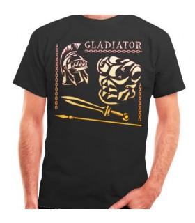 Camiseta Negra Gladiador y Romano, manga corta