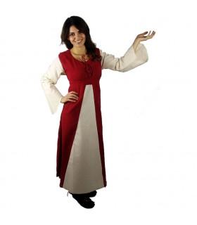 Mittelalterliches Kleid aus Baumwolle in Rot-Creme