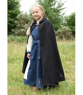 Capa medieval para niños, negra