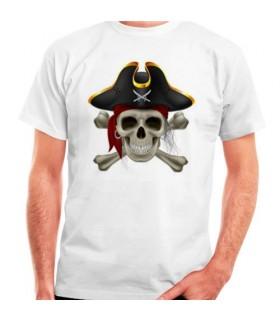 Camiseta Blanca Pirata, manga corta
