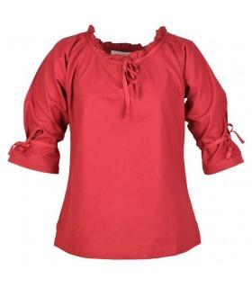Blusa medieval mujer Birga, rojo