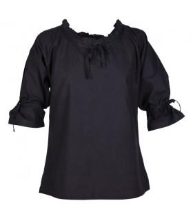 Blusa medieval mujer Birga, negro