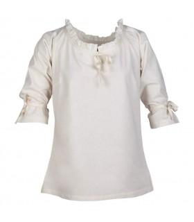 Blusa medieval mujer Birga, blanco