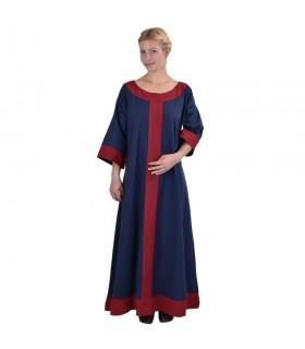 Vestido medieval Gudrun, azul-rojo