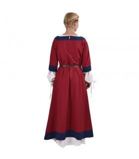 Vestido medieval Gudrun, rojo-azul