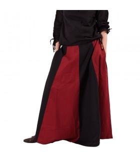Falda medieval larga rojo-negro