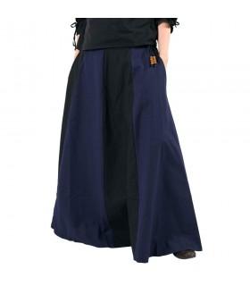 Falda medieval larga azul-negro
