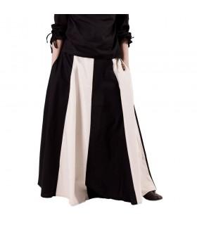 Falda medieval larga blanco-negro