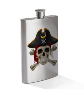 Petaca Calavera Pirata en Acero Inoxidable