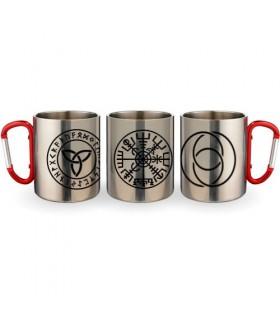 Taza de Acero Mosquetón Símbolos Celtas