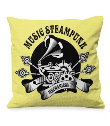 Cojín con Diseño de Música SteamPunk