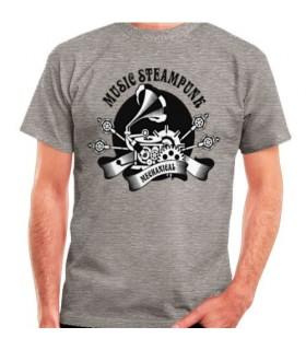 Camiseta Gris SteamPunk, manga corta