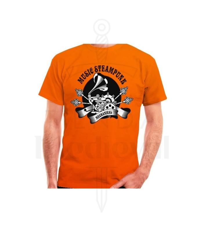 Camiseta Naranja SteamPunk, manga corta