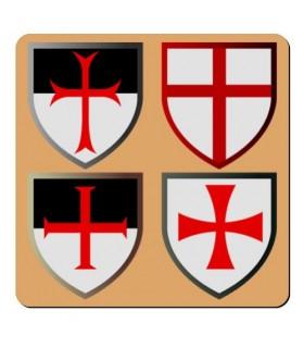 Imán 4 Cruces Caballeros Templarios (7,4 x 7,4 cms.)