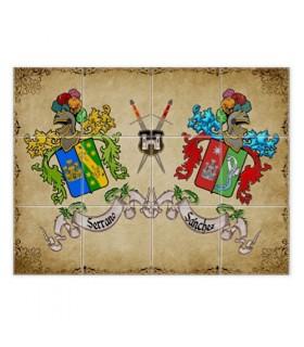 Mosaico Azulejos Escudos Heráldicos 2 Apellidos (con fondo)