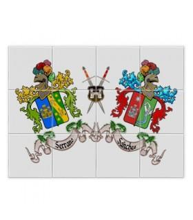 Mosaico Azulejos Escudos Heráldicos 2 Apellidos (sin fondo)
