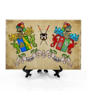 Azulejo Escudos Heráldicos con 2 Apellidos con fondo (30x20 cms.)
