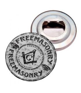 Öffnet-flaschen Stahlblech mit Magnet Freimaurer