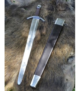 Mittelalterliches schwert von einer hand, breite klinge