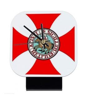 Reloj de mesa Cuadrado Caballeros Templarios (12x12 cms.)