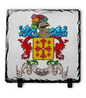 Escudo Heráldico 1 Apellido sobre Piedra de Pizarra (20x20 cms.)