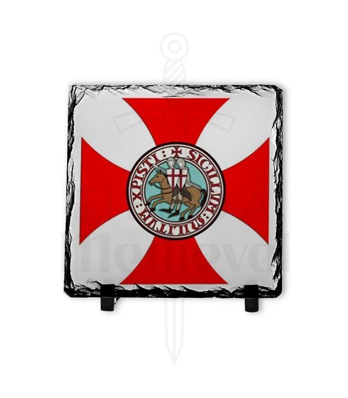 Escudo Caballeros Templarios sobre Piedra de Pizarra (20x20 cms.)