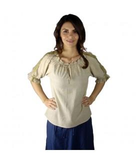 Blusa medieval lazos, 2 colores (marrón-crema)