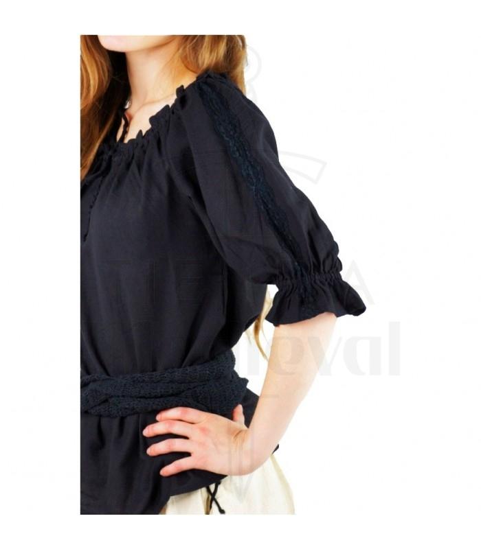 Blusa medieval lazos, 2 colores (rojo-negro)