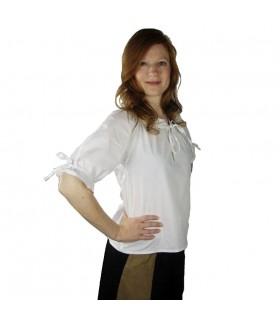 Blusa medieval blanca lazos