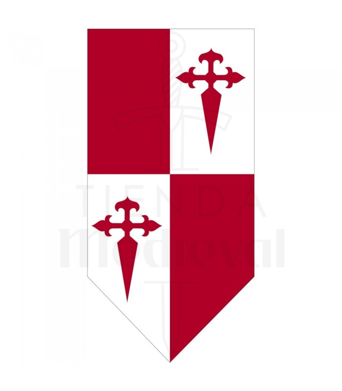 Estandarte medieval Cuartelado Cruz de Santiago