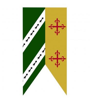 Estandarte Bicolor Verde-Mostaza Cruces Medievales