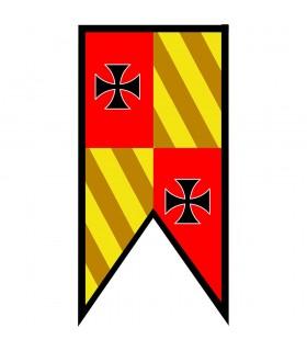 Estandarte Medieval Cuartelado picos Cruces Templarias