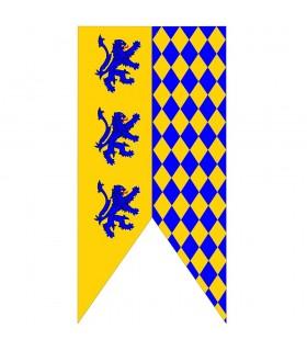 Estandarte Medieval Bicolor con Leones Rampantes