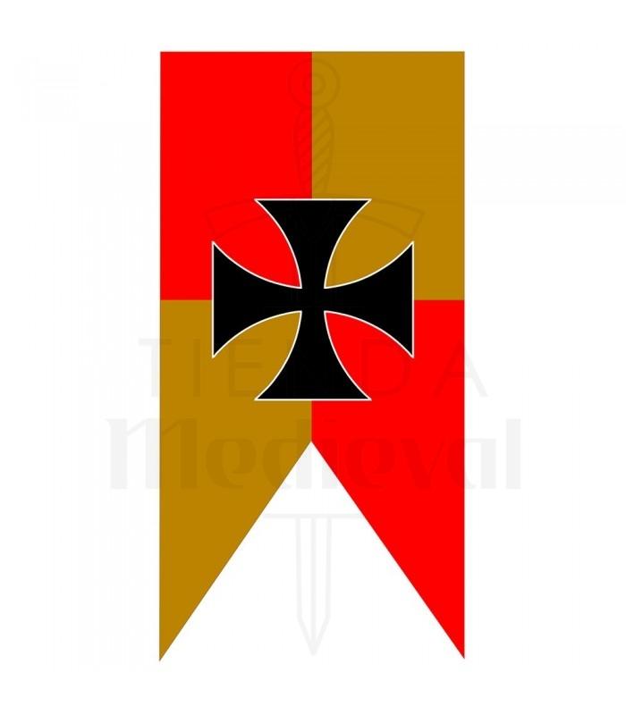 Estandarte Medieval Cuartelado Amarillo-Rojo Cruz Templaria