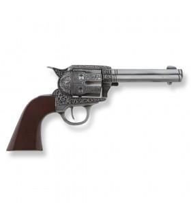 Revólver Colt 45 PeaceMaker decorado, 27 cms.